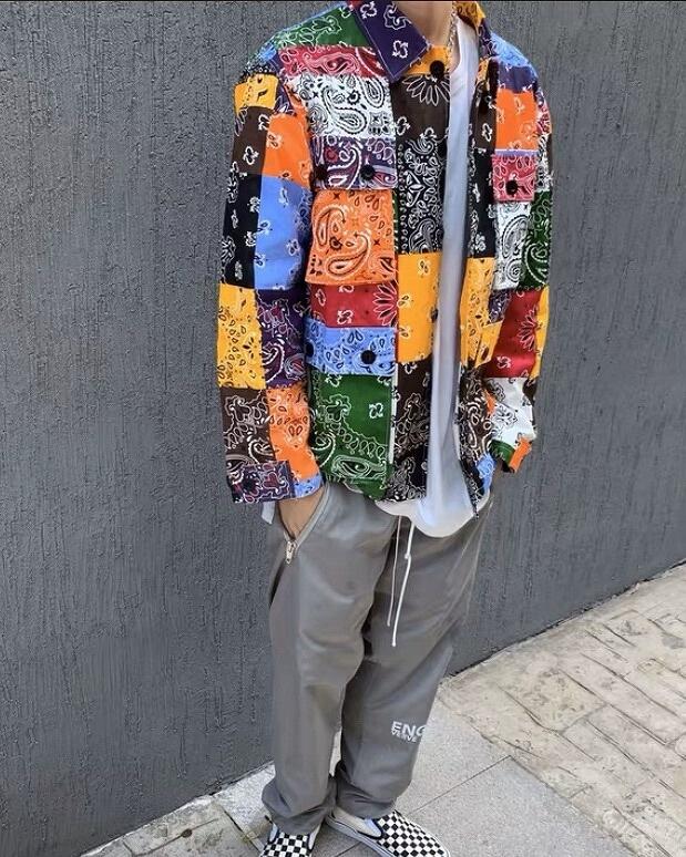 マルチカラーパッチワークバンダナシャツジャケットの画像3